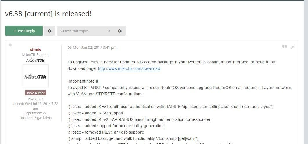 RouterOS 6 38 [current] が公開になりました | Routerboard User Group