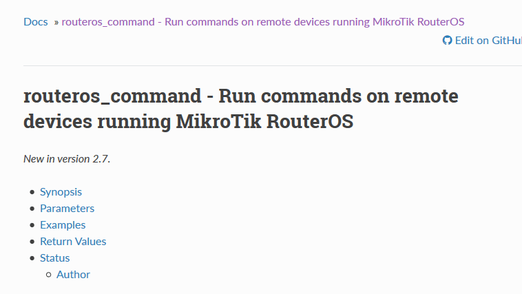 routeros_command - Run commands on remote devices running MikroTik RouterOS